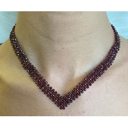 V Necklace in Garnet